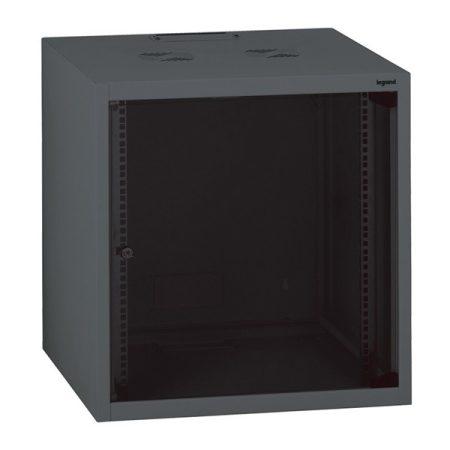 """Legrand Rackszekrény - 19"""" fali kivitel (18U, 890x600x600, antracit, egyrekeszes, üvegajtós, készre szerelt, max. 54 kg)"""