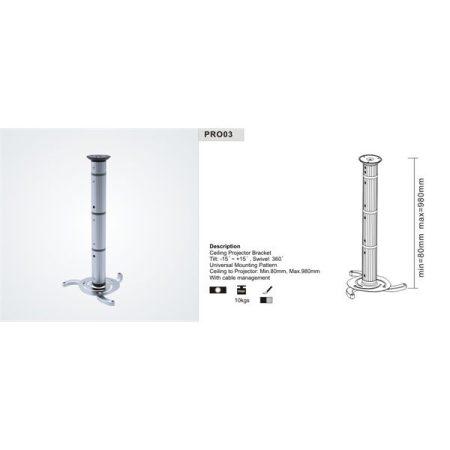 SUNNE (PRO03) Projektor mennyezeti konzol dönthető, Profil:130-1060mm, max 10kg (ezüst)