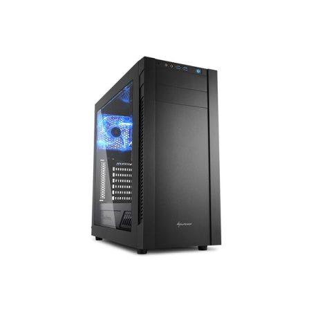 Sharkoon Számítógépház - S25-W (fekete; ablakos kivitel; alsó táp; ATX,mATX; mITX; 2xUSB3.0; I/O)