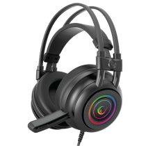 Rampage Fejhallgató - RM-K2 X-QUADRO RGB (7.1, mikrofon, USB, hangerőszabályzó, nagy-párnás, 2.2m kábel, fekete)
