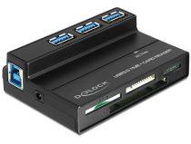 Delock USB 3.0 kártyaolvasó, minden az 1ben, 1 + 3 Port, USB 3.0 Hub