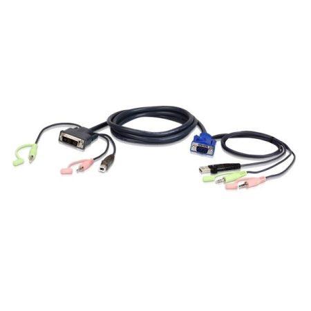 ATEN KVM Kábel USB VGA-DVI-I Audio,   1,8m - 2L-7DX2U