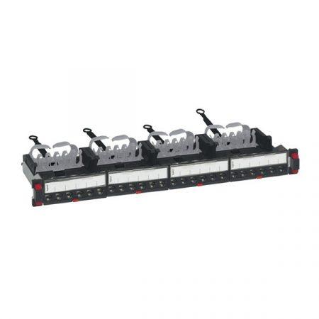 Legrand Patch panel - Cat6A, STP, 24 portos, 1U, árnyékolt, (4x6xRJ45 modulok) gyorscsatlakozók, LCS3