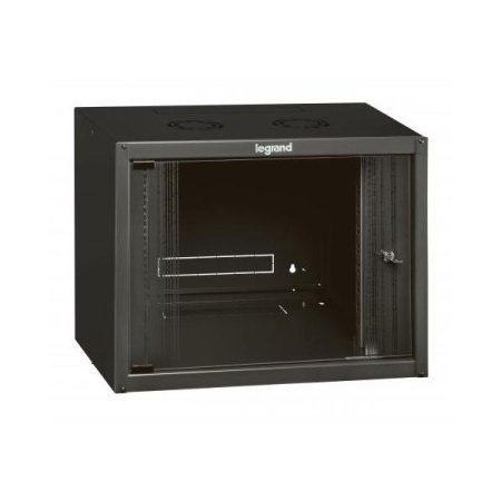 """Legrand Rackszekrény - 19"""" fali kivitel (9U, 494x600x400, antracit,  egyrekeszes, üvegajtós, készre szerelt max: 27 kg)"""