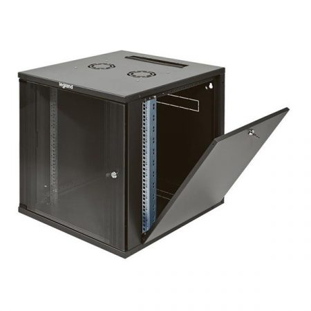 """Legrand Rackszekrény - 19"""" fali kivitel (12U, 626x600x400, antracit, egyrekeszes, üvegajtós, készre szerelt, max: 36 kg)"""