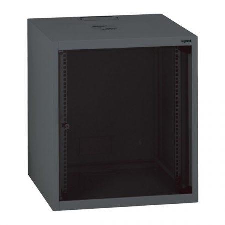 """Legrand Rackszekrény - 19"""" fali kivitel (9U, 494x600x600, antracit, egyrekeszes, üvegajtós, készre szerelt, max: 27 kg)"""