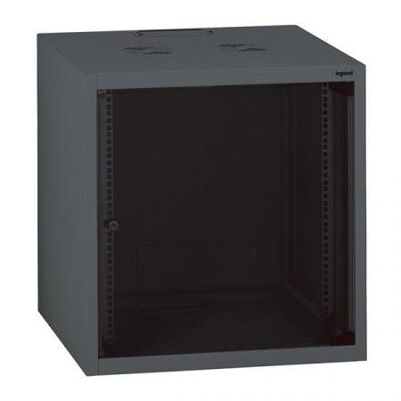 """Legrand Rackszekrény - 19"""" fali kivitel (15U, 758x600x600, antracit, egyrekeszes, üvegajtós, készre szerelt, max. 45 kg)"""