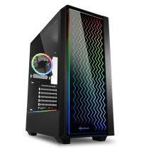 Sharkoon Számítógépház -  LIT 200 (fekete; üveg oldal; alsó táp; ATX; 4x120mm RGB; 2xUSB3.0; 1xUSB2.0; I/O)