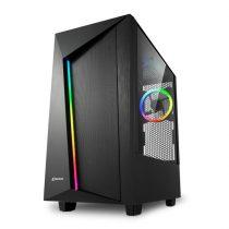 Sharkoon Számítógépház - REV100 (fekete; ablakos; alsó táp; ATX; 3x120mm LED; 2xUSB3.0; I/O)