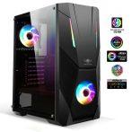 Spirit of Gamer Számítógépház - Rogue V RGB (fekete, ablakos, 8x12cm ventilátor, alsó táp,  ATX, 1xUSB3.0, 2xUSB2.0)