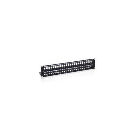 Equip Keystone Patch Panel - 769349 (48 port, Cat6, 2U, árnyékolt, fekete)