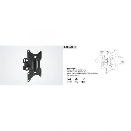 "SUNNE (LCD-A501K) Monitor fali konzol dönthető, forgatható, 23-42"", faltáv: 90mm"