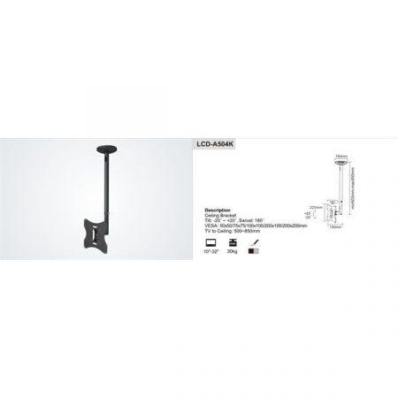 """SUNNE (LCD-A504K) Monitor/TV mennyezeti konzol, dönthető, forgatható, 23-42"""""""
