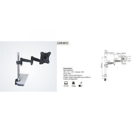 """SUNNE (LCD-B13) Monitor asztali konzol, dönthető, forgatható, 13-27""""; kartáv:439mm"""