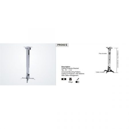 SUNNE (PRO02S) Projektor mennyezeti konzol dönthető, Profil: 430-650mm, max 20kg (ezüst)