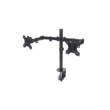 """Manhattan Fali/asztali állvány -  Dupla karos, 2db monitor részére (max.VESA:100x100, 13""""-32""""-ig, 8kg, fekete)"""