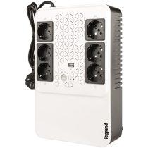 Legrand multimédiás szünetmentes elosztósor 600VA - KEOR-MS, (4+2)x Schuko kimenet, USB, vonali interaktív