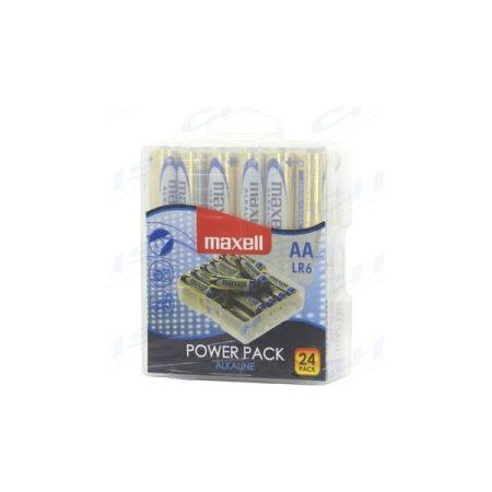 MAXELL Alkálielem Power Pack LR-6 AA 24db-os visszazárható átlátszó műanyag dobozban