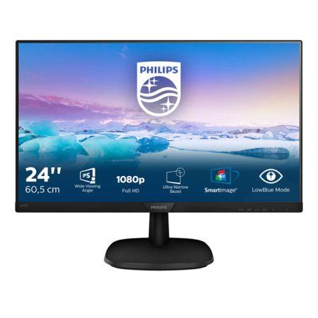 """PHILIPS IPS monitor 23,8"""" 243V7QDAB, 1920x1080, 16:9, 250cd/m2, 4ms, VGA/DVI-D/HDMI, hangszóró"""