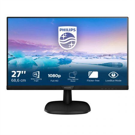 """PHILIPS IPS monitor 27"""" 273V7QDAB, 1920x1080, 16:9, 250cd/m2, 4ms, 75Hz, VGA/DVI-D/HDMI, hangszóró"""