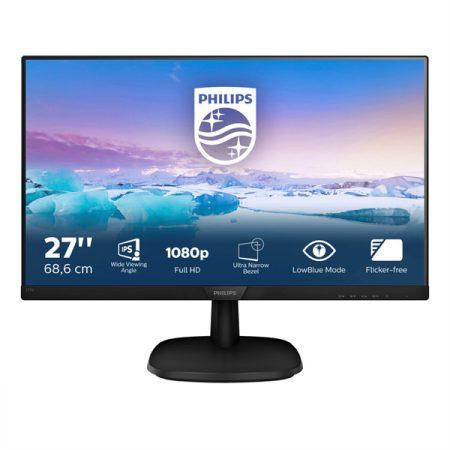 """PHILIPS IPS monitor 27"""" 273V7QJAB/00, 1920x1080, 16:9, 250cd/m2, 4ms, 75Hz, VGA/HDMI/DisplayPort, hangszóró"""